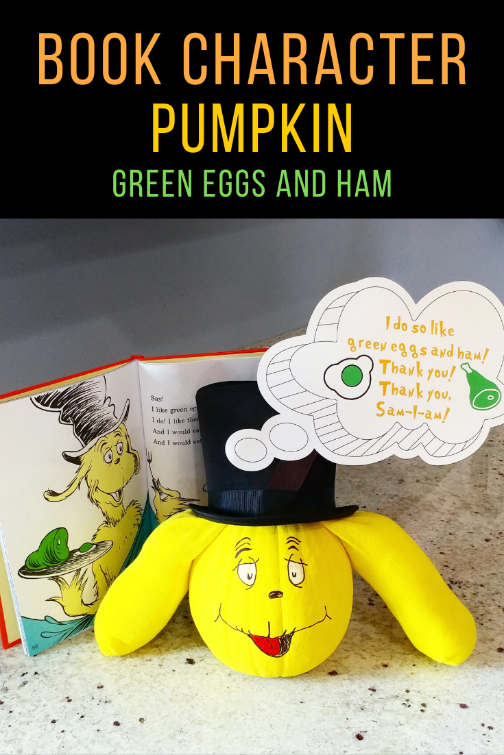 Dr. Seuss Green Eggs & Ham Story book character pumpkin.